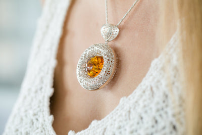 Contemporary Amber Pendant