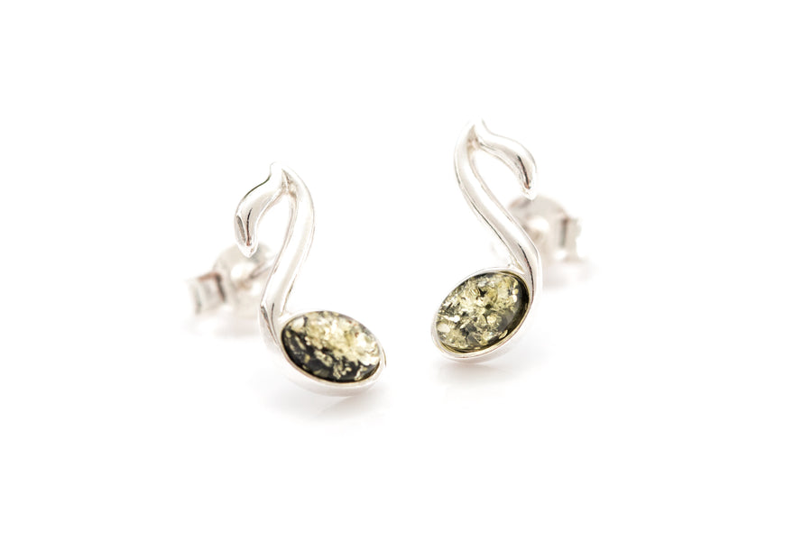 Green Music Note Stud Earrings