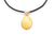 Yellow Amber Pendant with Black Leather Chord Necklace