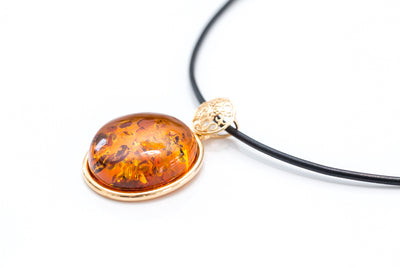 Gold Plated Amber Pendant with Black Leather Necklace