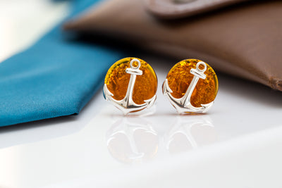 Amber Anchor Cufflinks