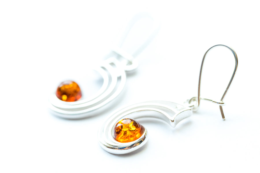 Modern Amber Orbital Earrings