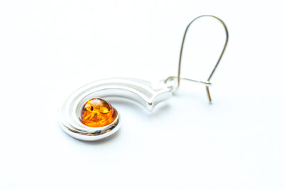 Modern Amber Orbit Earrings