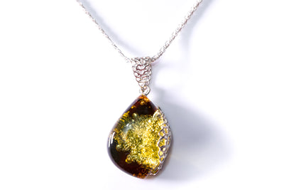 Unique Green Amber Pendant