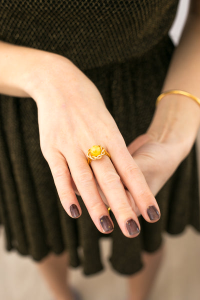 Solstice Yellow Amber Wreath Ring