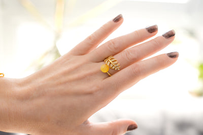 Solstice Yellow Amber Feather Ring