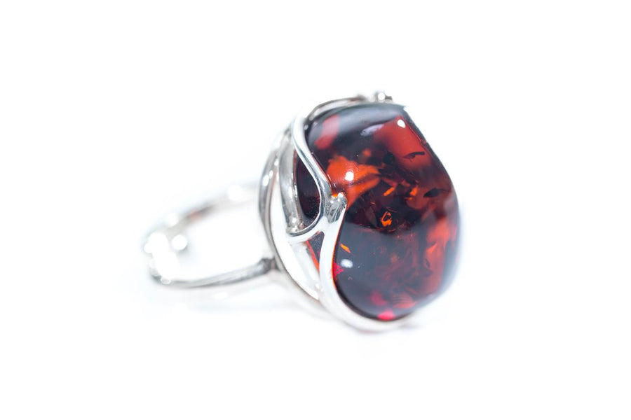 Oversized Cherry Red Amber Cocktail Ring