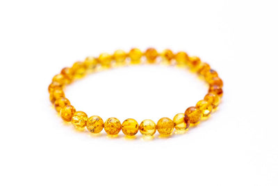 Honey Amber Sphere Bead Bracelet