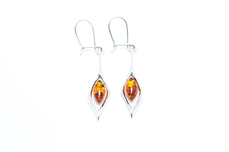 Small Droplet Amber Dangle Earrings