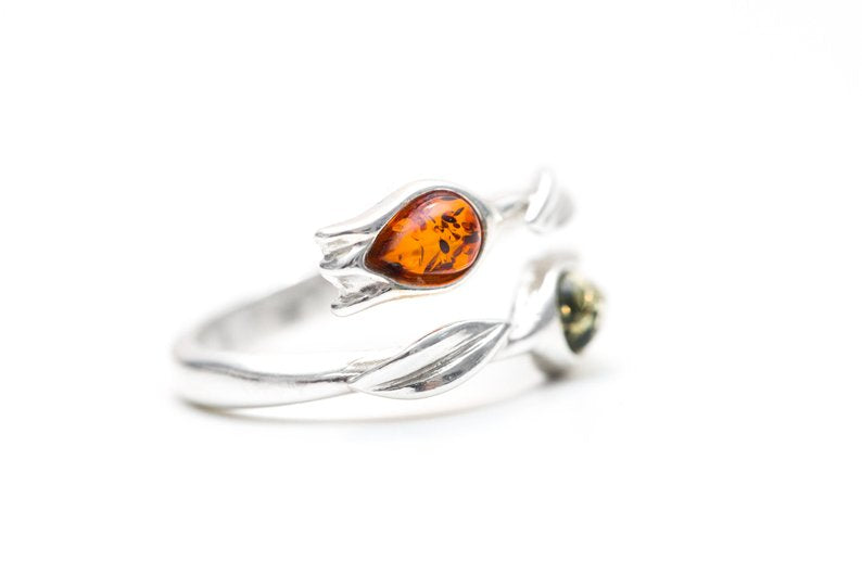 Two Tone Amber Tulip Ring