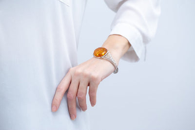 OOAK Oval Amber Floral Arm Cuff