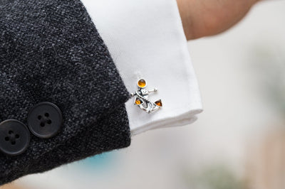 Amber Anchor Rope Cufflinks
