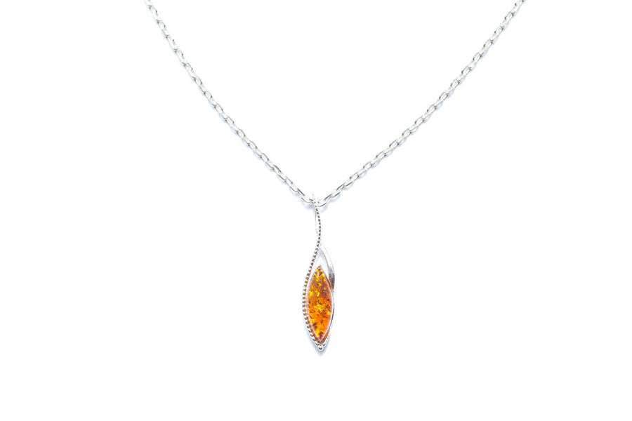 Small Marquise Amber & Silver Pendant