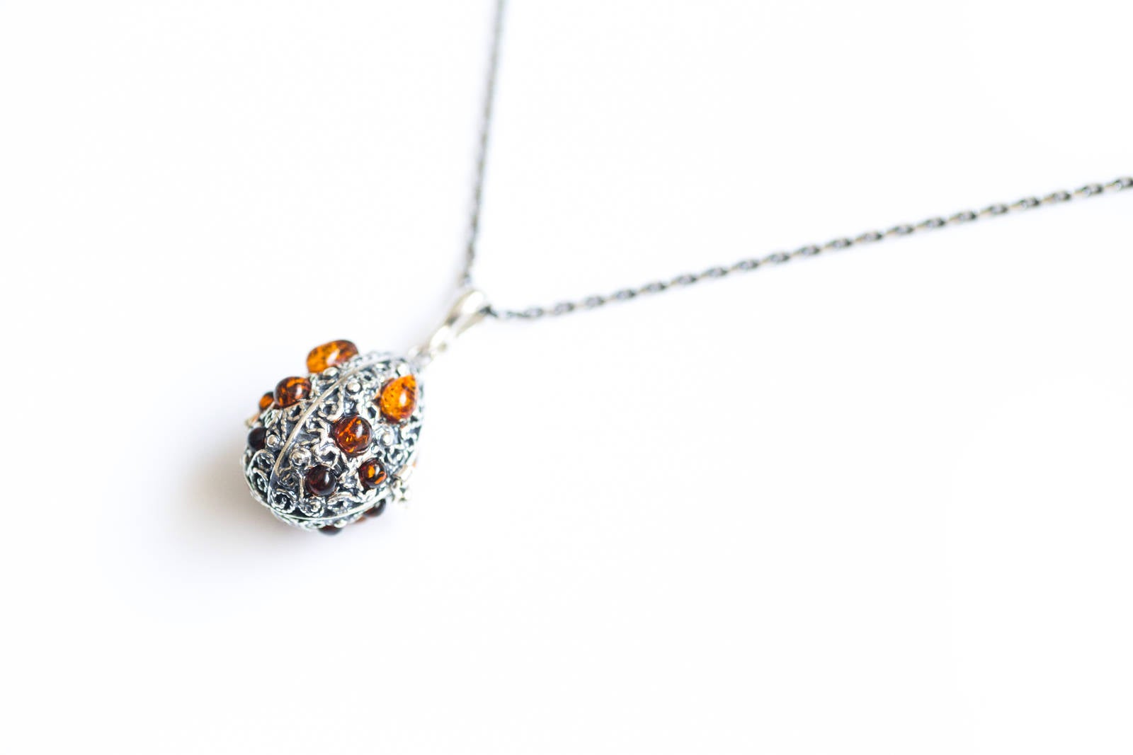 Fabergé Inspired Amber Egg Locket Necklace