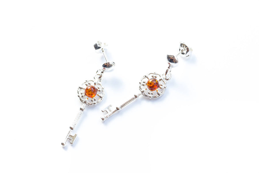 Amber Key Charm Earrings