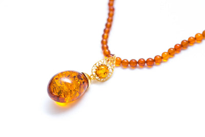 OOAK Cognac Amber Drop Pendant with Exclusive Bead Chain