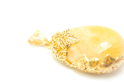 Floral OOAK Gold Plated Yellow Amber Pendant