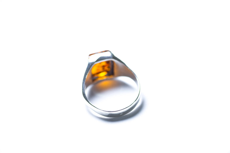 Men's Amber Solitaire Ring