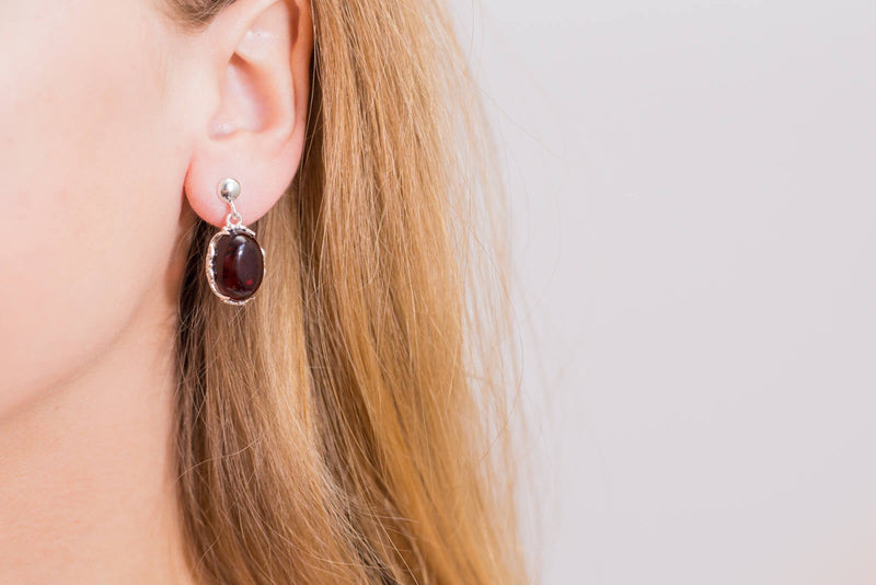Demi Cherry Red Amber Drop Earrings