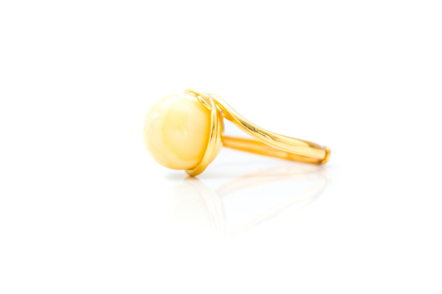 Gold Yellow Amber Sphere Ring