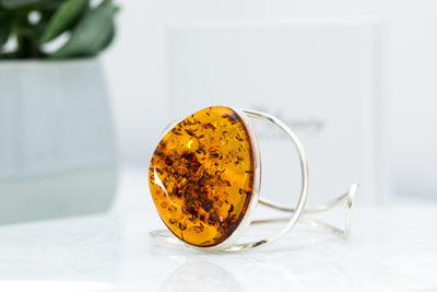 Large Organic Cut Amber Arm Cuff