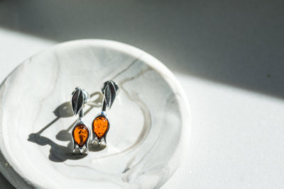 Amber Tulip Stud Earrings