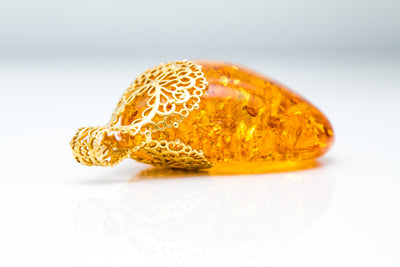 OOAK Gold Plated Honey Amber Pendant