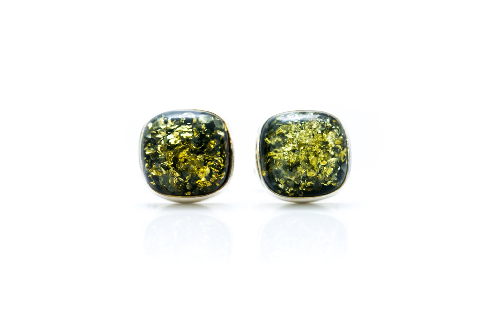 Square Green Amber Cufflinks