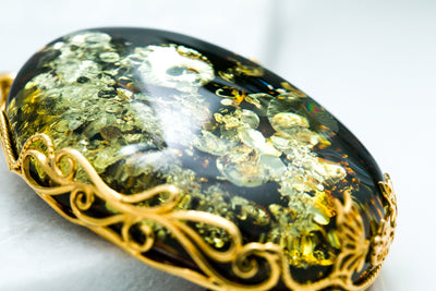 OOAK Gold-Plated Green Amber Pendant