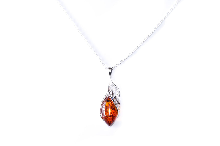 Fancy Top Amber & Silver Pendant