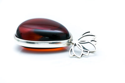 OOAK Cherry Red Amber Statement Pendant
