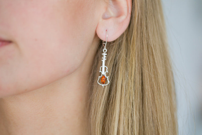 Amber Violin Dangle Earrings