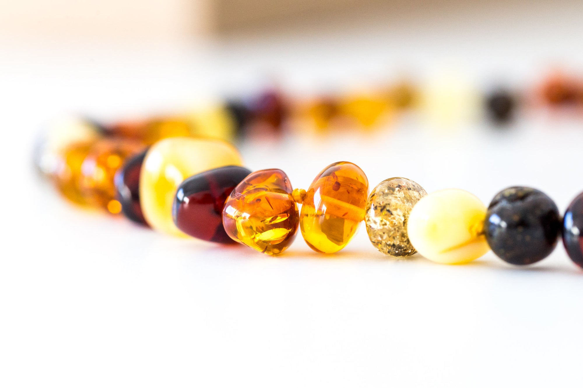 Polished Nugget Amber Bead Necklace