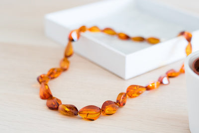 Elegant Baltic Amber Faceted Bead Necklace