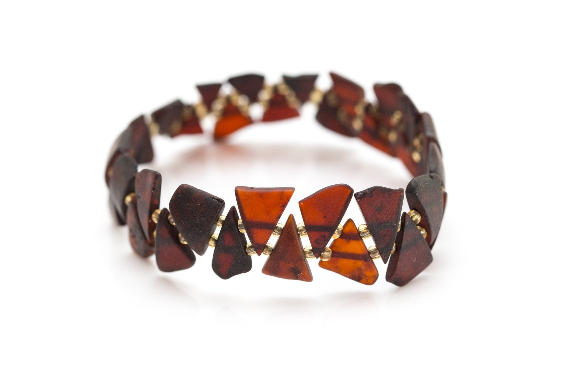 Edgy RAW Cherry Amber Triangle Bracelet
