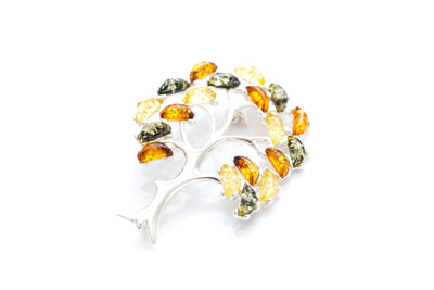 Colourful Large Amber Tree Brooch
