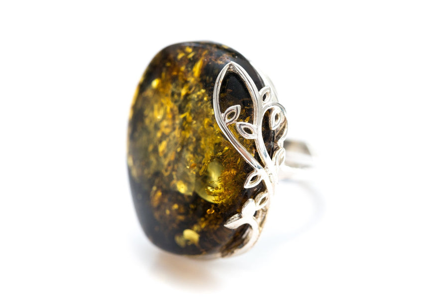Oversized OOAK Green Amber Ring