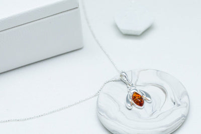 Amber Bumble Bee Charm Necklace