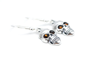 Silver Skull Dangle Earrings