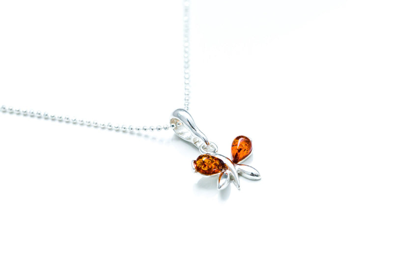 Tiny Amber Butterfly Necklace