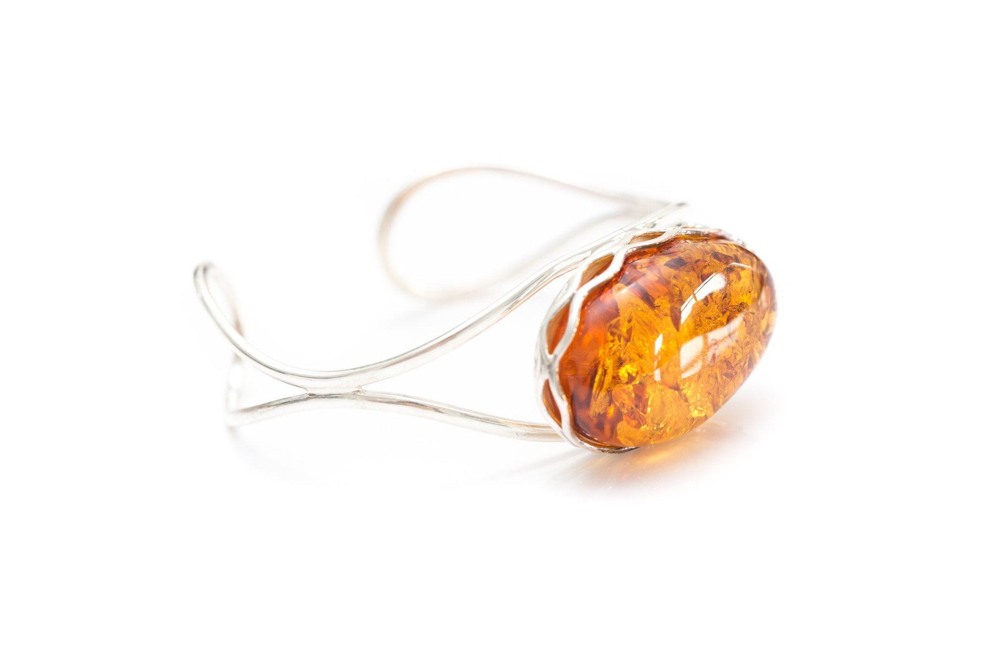 Modern Oval Baltic Amber Bangle