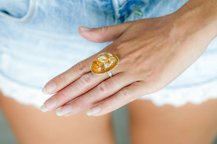 Golden Champagne Amber Ring