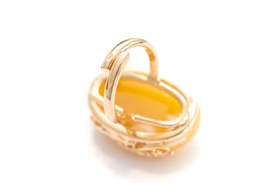 Gold Plated Floral Yellow Amber Ring