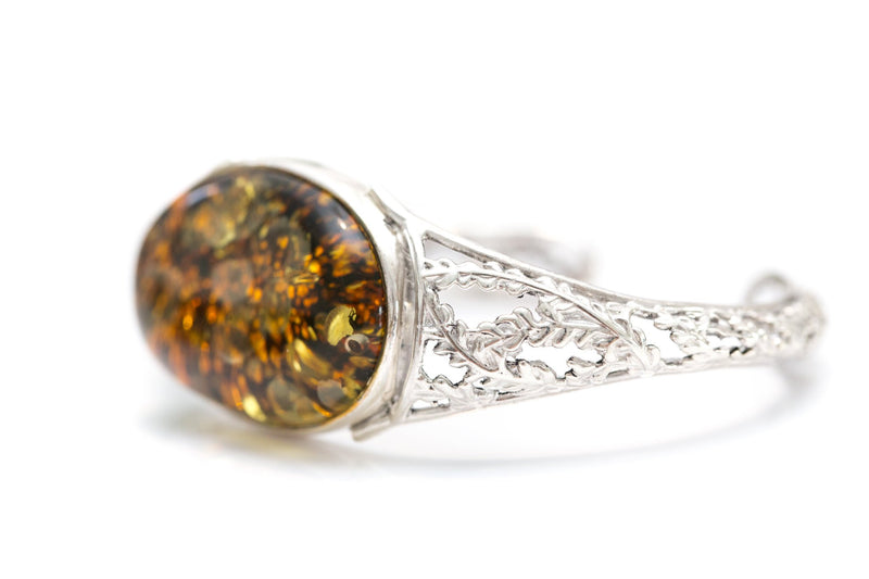 Golden Green Amber Bangle