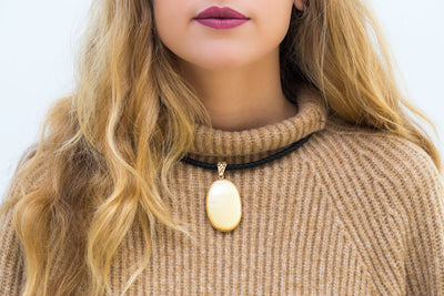 OOAK Statement Amber Pendant with Leather Necklace