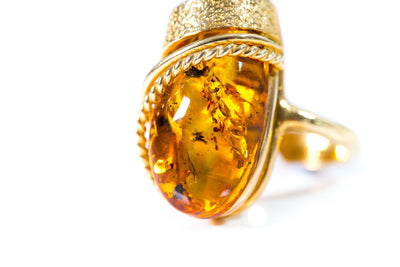 Gold Plated Statement Amber Ring
