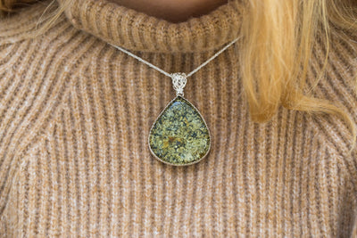Large Green Amber Teardrop Pendant