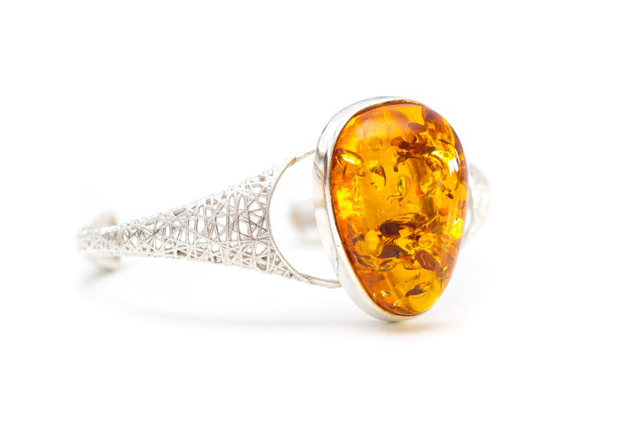 Contemporary Cross Hatch Amber Bangle