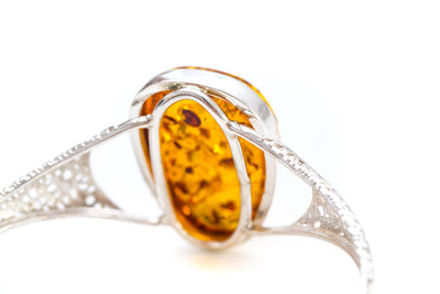 OOAK Cross Hatch Amber Bangle