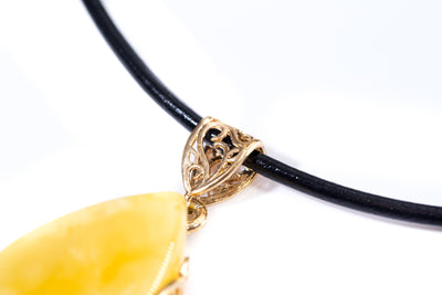 Gold Plated Yellow Amber Pendant with Black Leather Necklace
